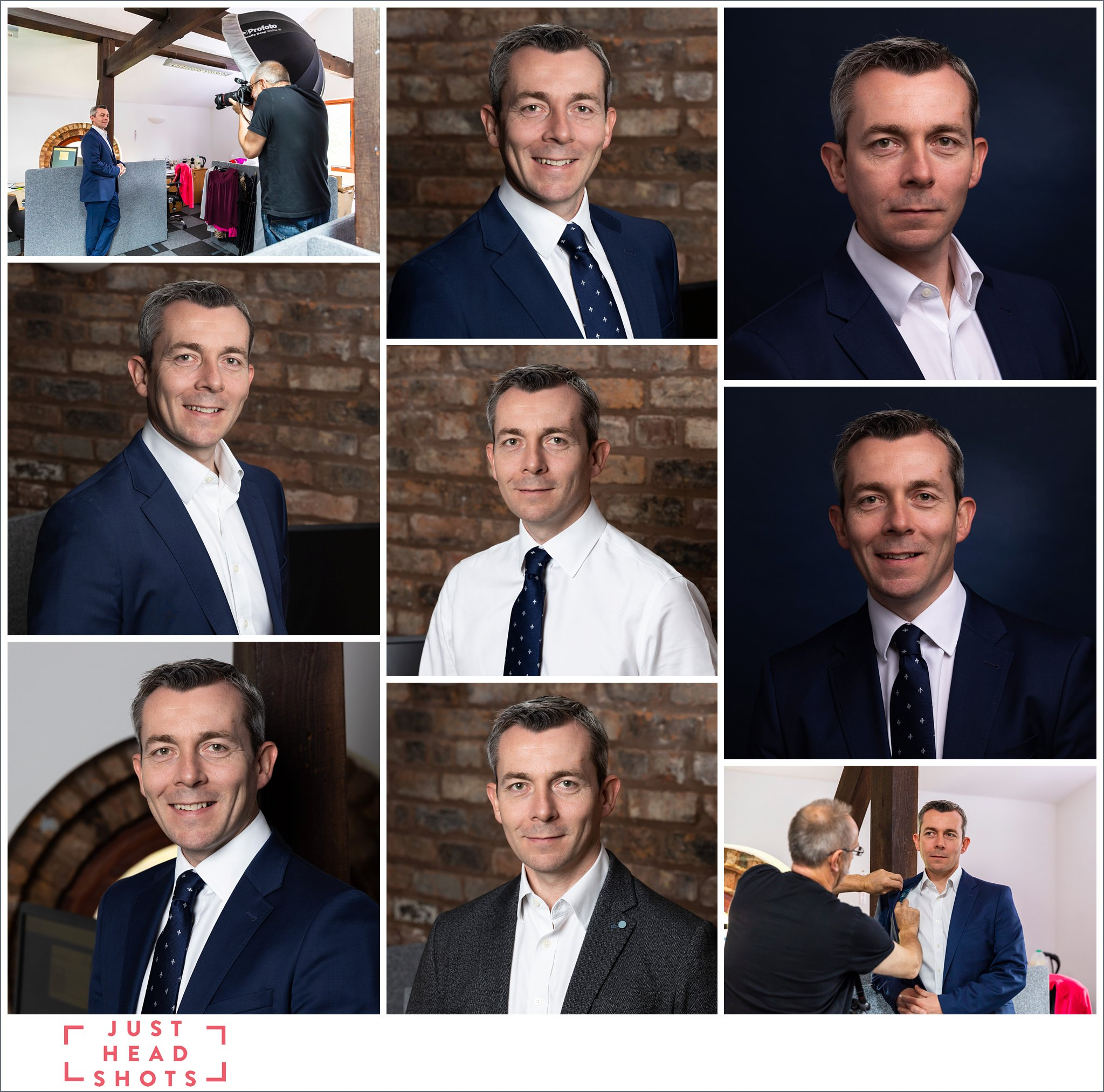 Professional headshots photos taken in Warrington of grey haired man in suit against dark blue backgrounds and against natural backgrounds with behind the scenes photos