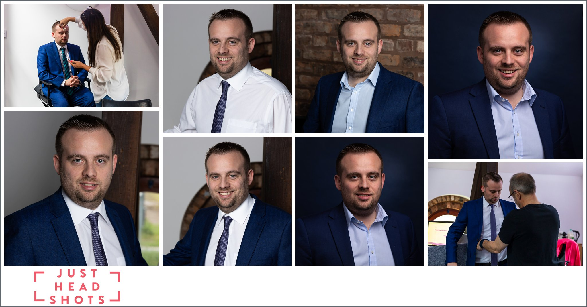 Professional headshots photos taken in Warrington of dark haired man in suit against dark blue backgrounds and against natural backgrounds with behind the scenes photos