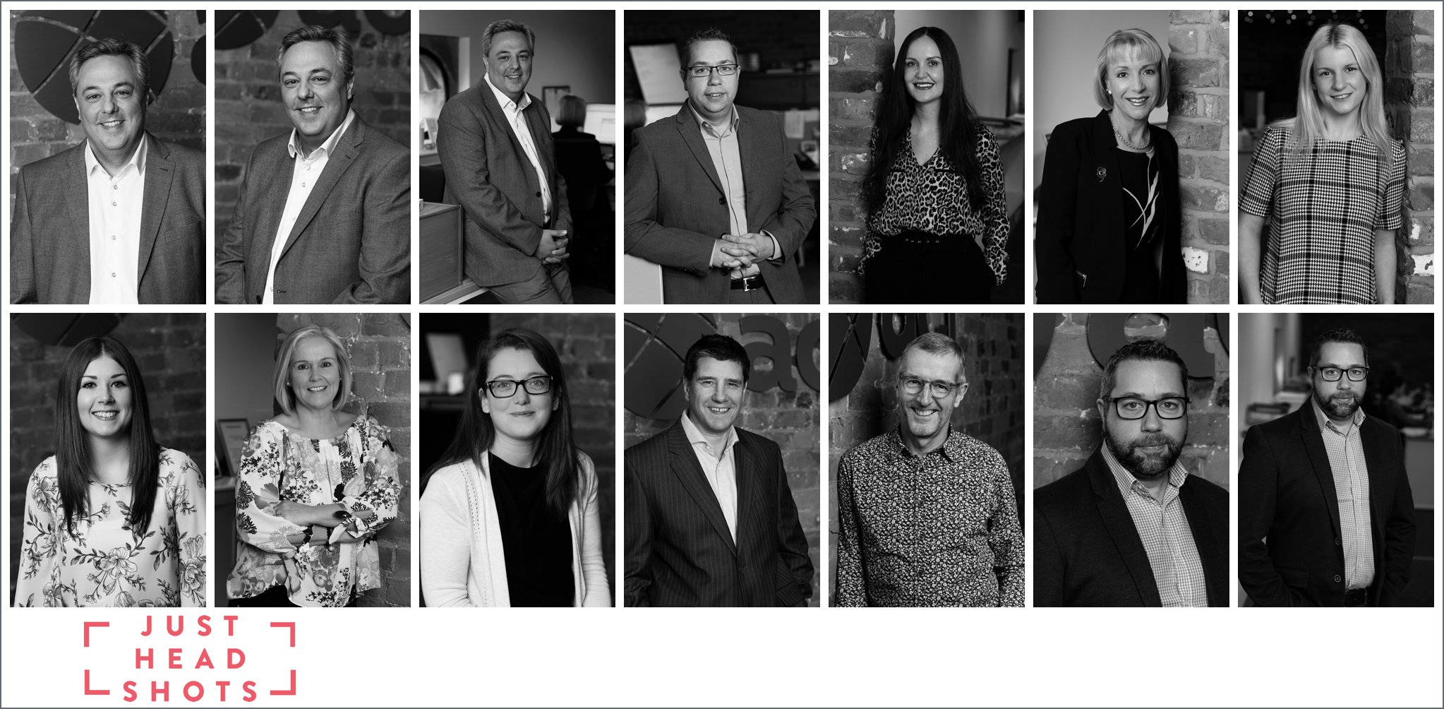 Black and white full body business portrait photography using the brick finish in converted stable office in Merseyside