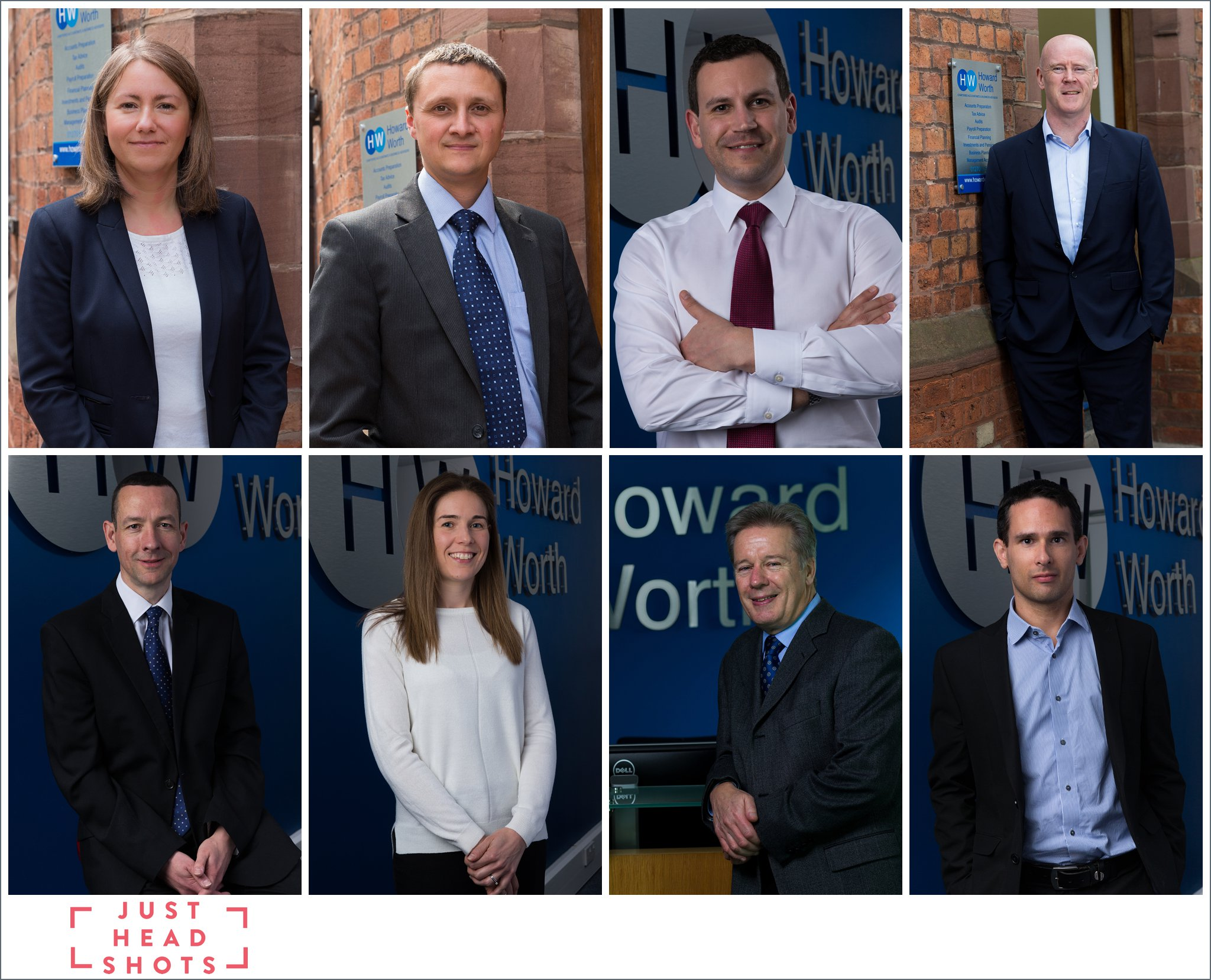 Environmental business portraits with company branding in the background