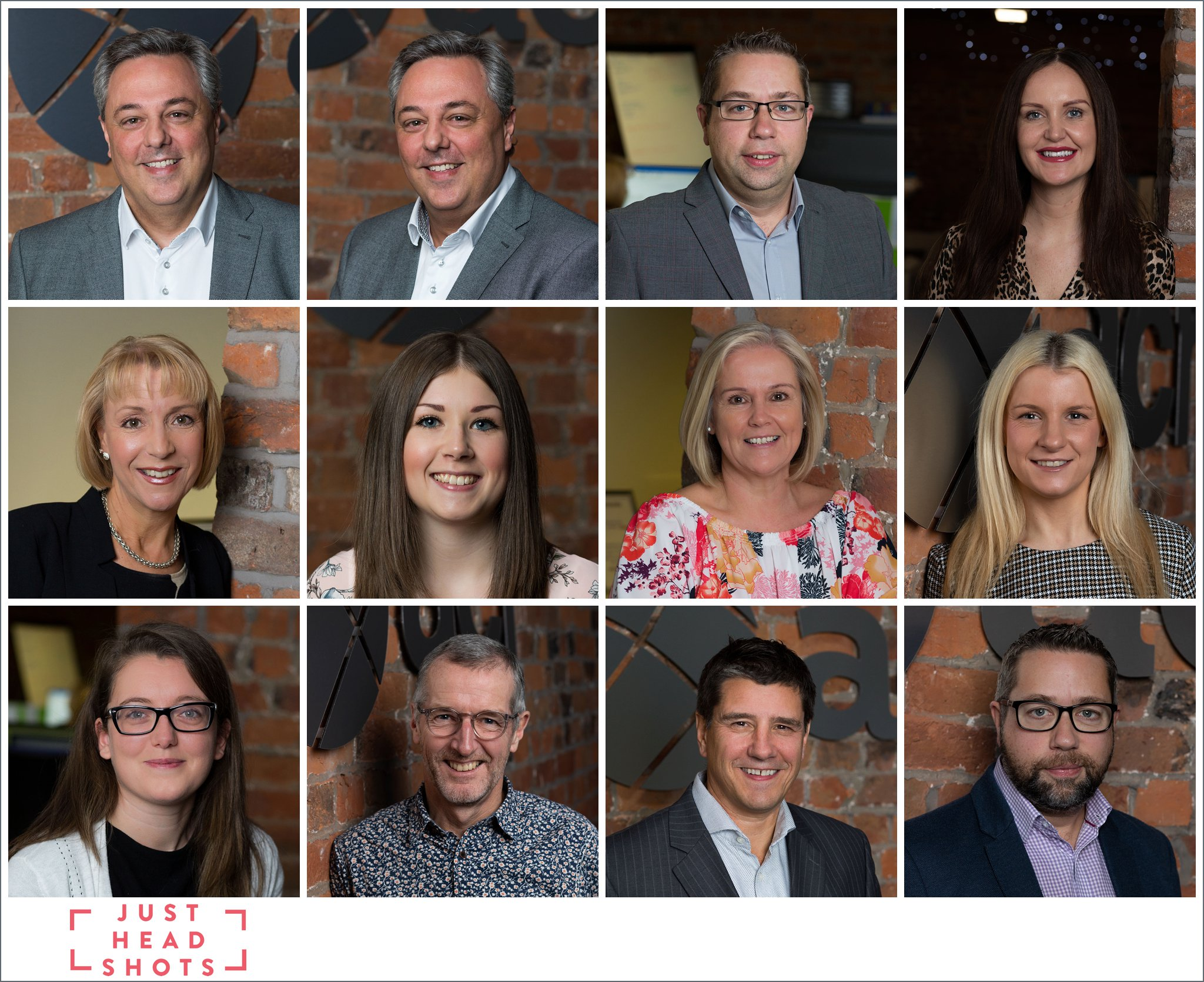 Colour headshot photography using the brick finish in converted stable office in Liverpoo