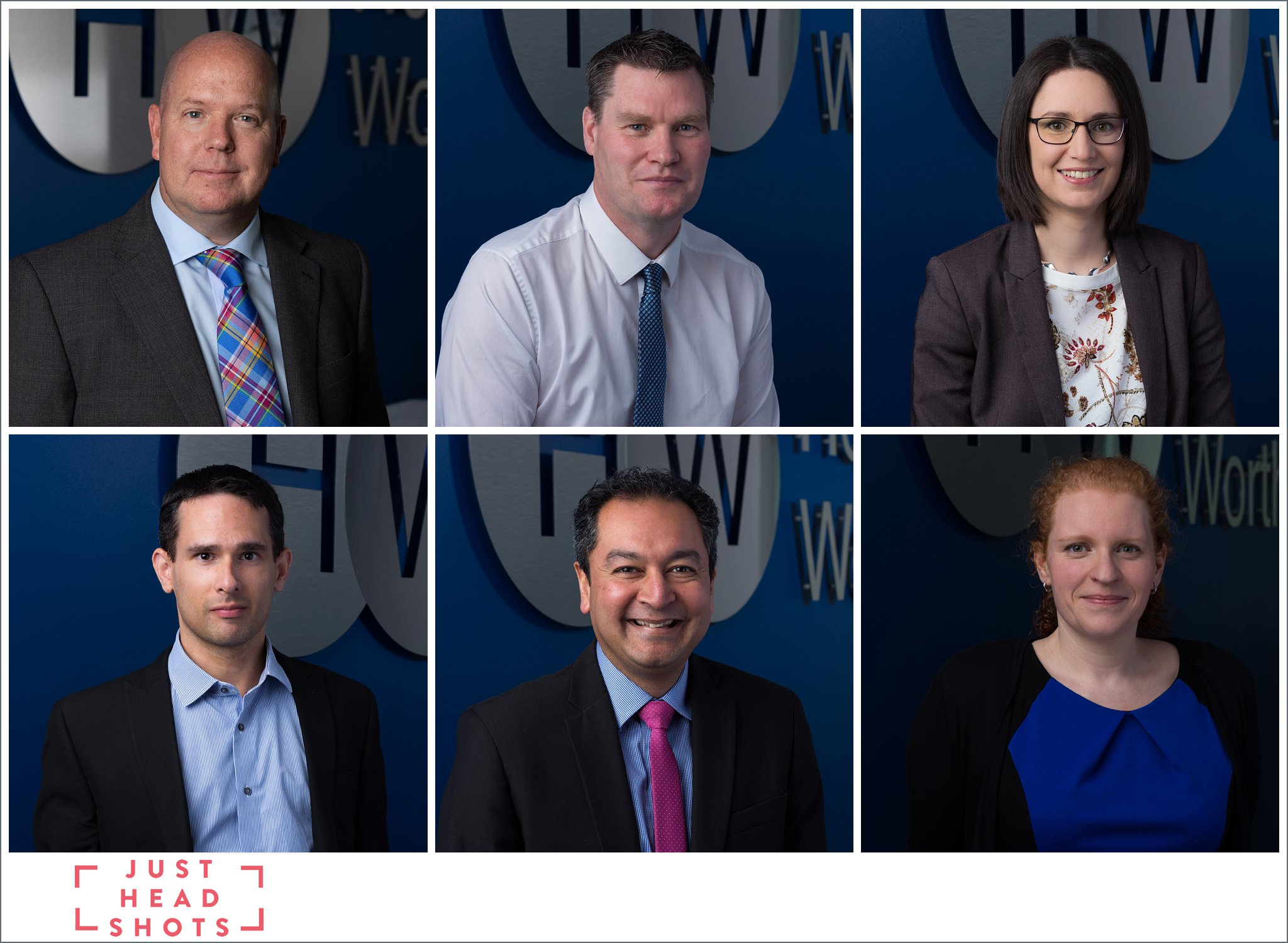 corporate headshot photos of accountants in Nantwich with company logo and dark blue background