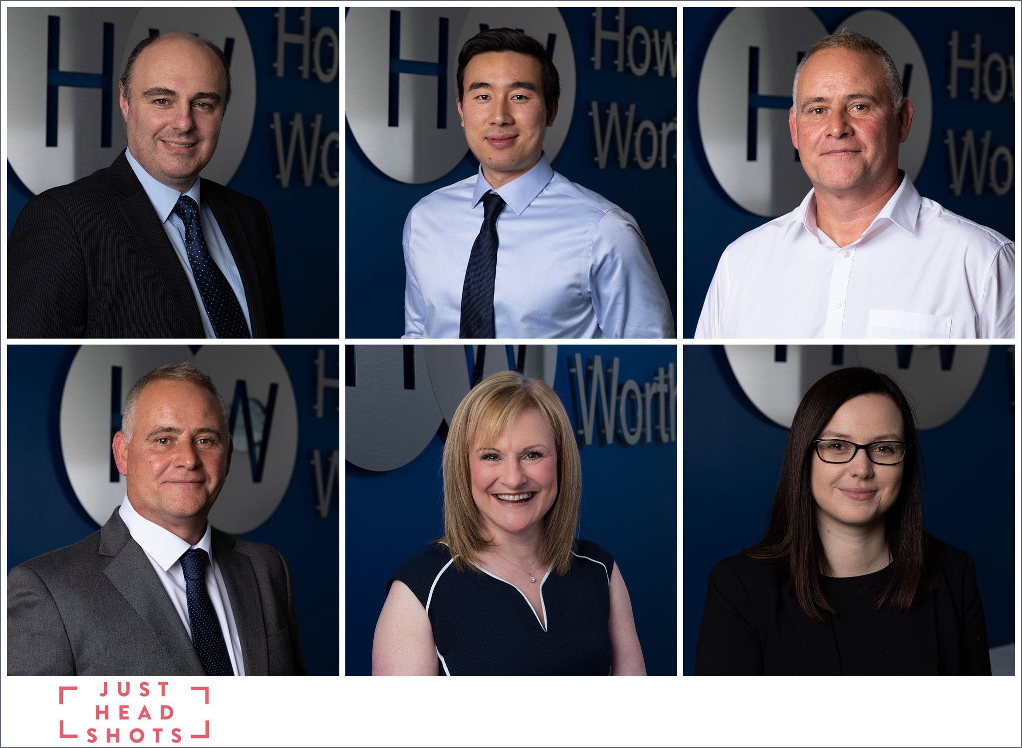 corporate headshot photos of accountants in Northwich with company logo and dark blue background