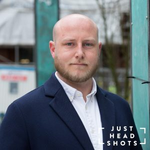location headshot taken outside a contemporary building in Manchester