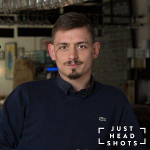 location headshot taken inside a bar in Manchester
