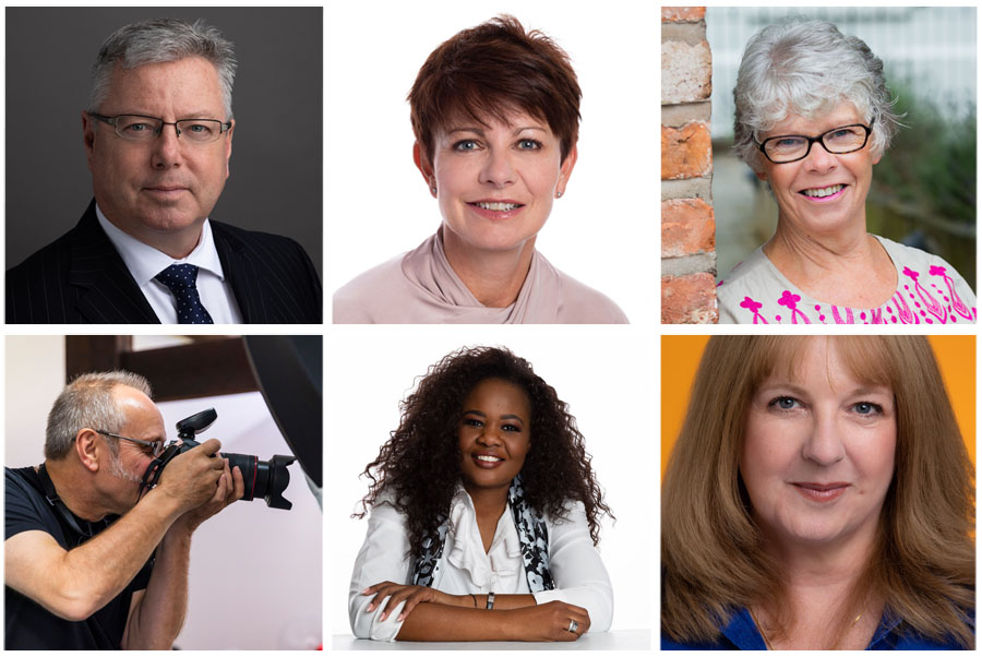 headshots of women and men taken against white backgrounds, dark backgrounds and natural backgrounds in Warrington